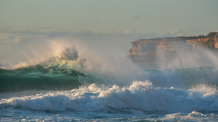 incoming big wave on the ocean