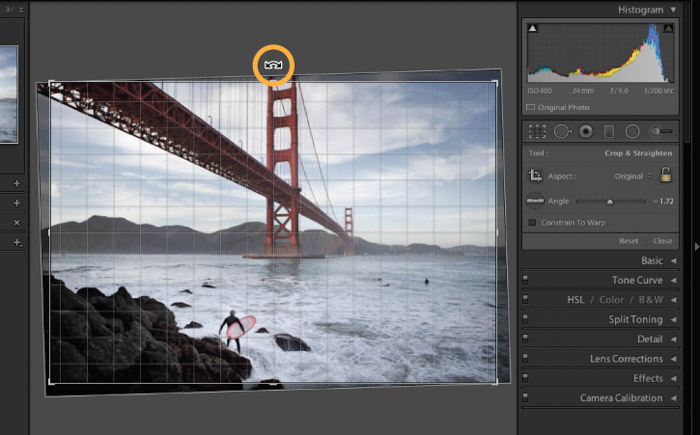 Showing The Golden Gate Bridge and how to use the crop tool to straighten images