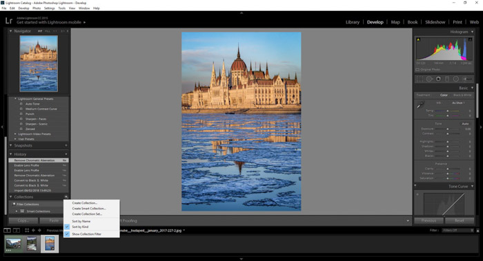 Creating collections in Adobe Lightroom