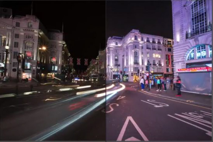 Showing a before and after of a night street scene using free Lightroom presets from PresetPro