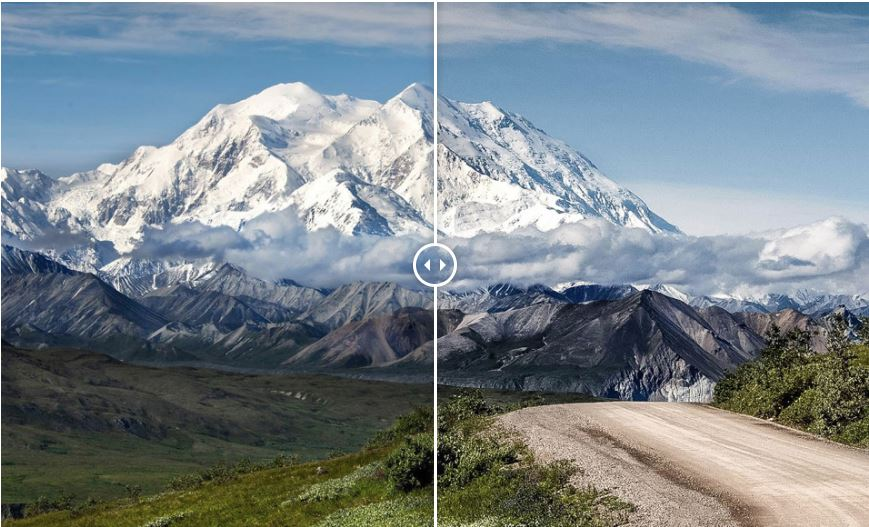 Showing a before and after photograph of a mountain range using free Lightroom presets - Landscape