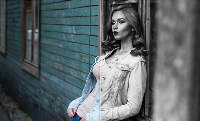 Showing a before and after photograph of a girl using free Lightroom presets - Monochrome