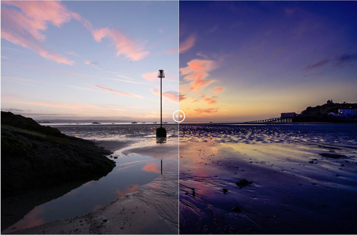 Showing a before and after photograph of a beach scene using free Lightroom presets - Morning Seascape