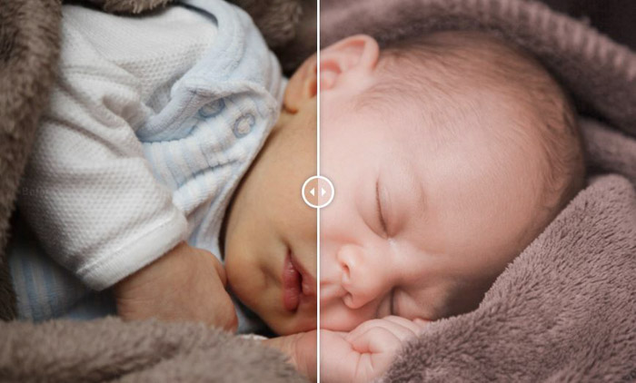 Showing a before and after photograph of a baby using free Lightroom presets - Newborn