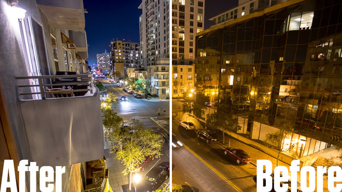 Showing a before and after of a street scene using free Lightroom presets - Night Photo