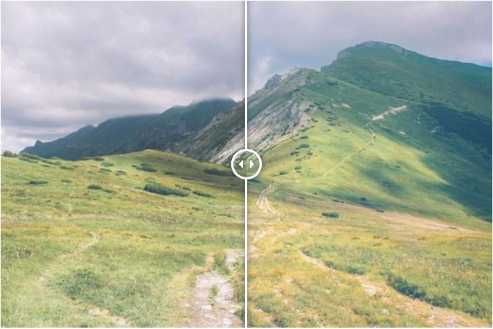 Showing a before and after photograph of a hilly scene using free Lightroom presets - Saturation