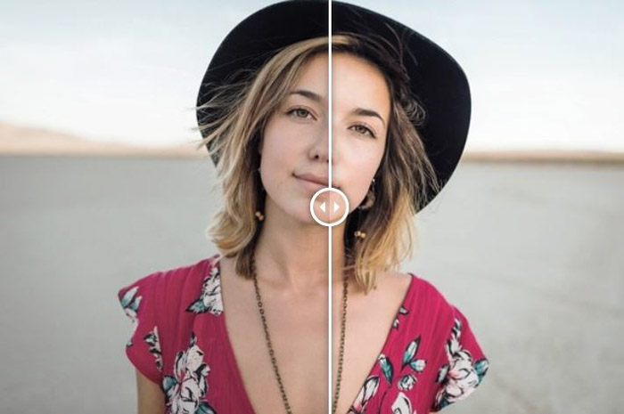 Showing a before and after photograph of a woman using free Lightroom presets - Soft Skin