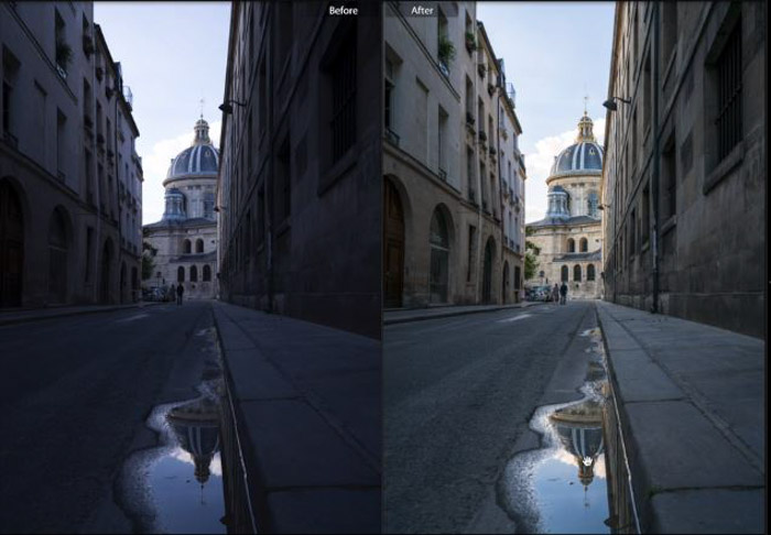Showing a before and after photograph of a atreet using free Lightroom presets - Street View