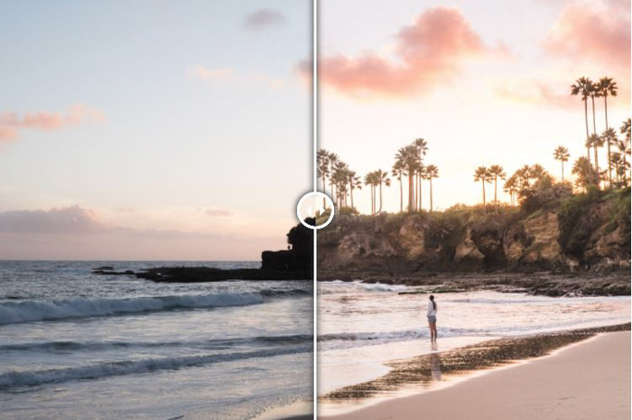 Showing a before and after of a beach scene using free Lightroom presets - Laguna Sunset