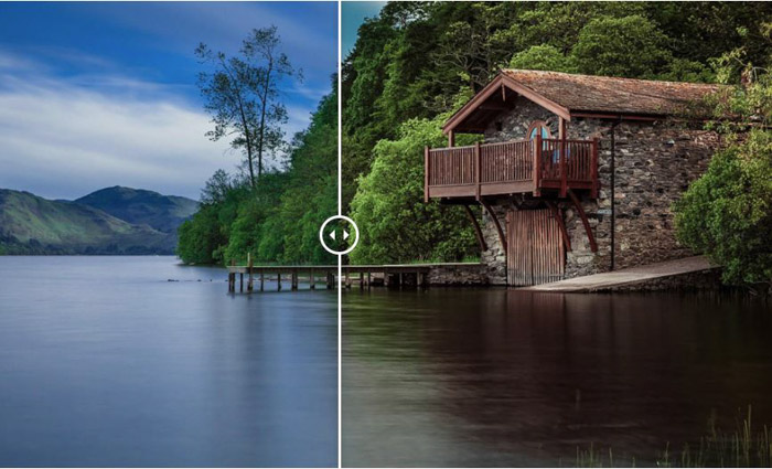 Showing a before and after image of a water-side cabin using free Lightroom presets - by Photonify