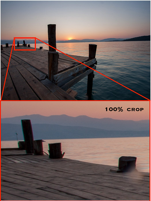 A zoomed in image of a jetty to show Chromatic Aberrations