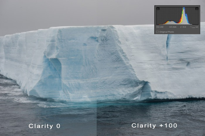 Using a photograph of an iceberg to show the before and after clarity effect in Lightroom