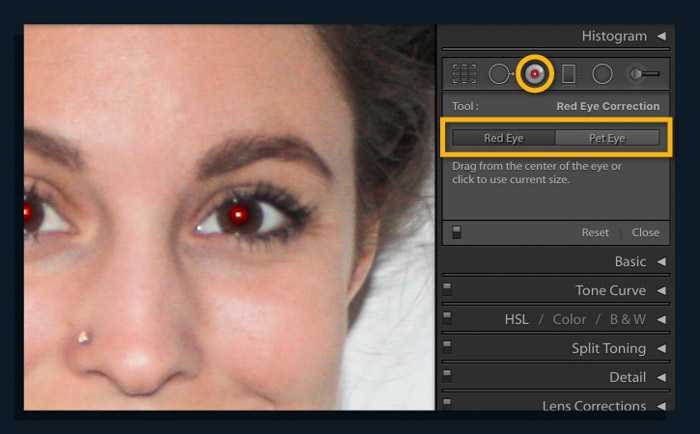 Showing how to correct red-eye using red-eye corrections using Lightroom