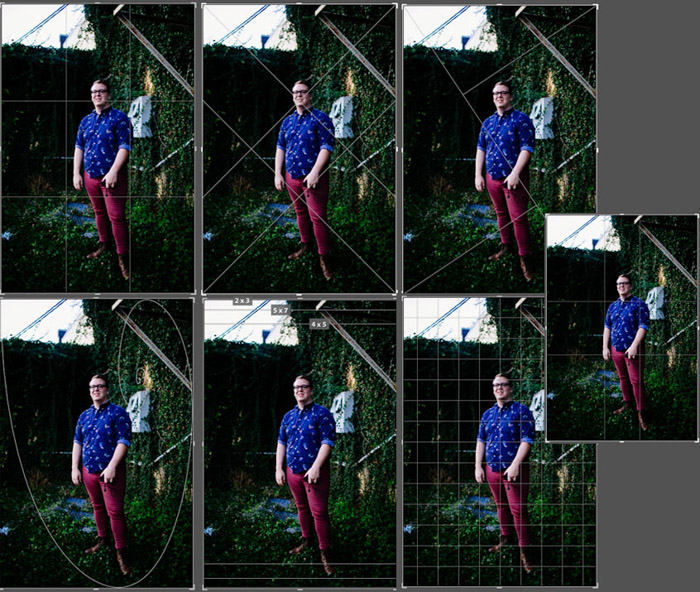 Using a repeated image of a man to show different crop overlays in Lightroom