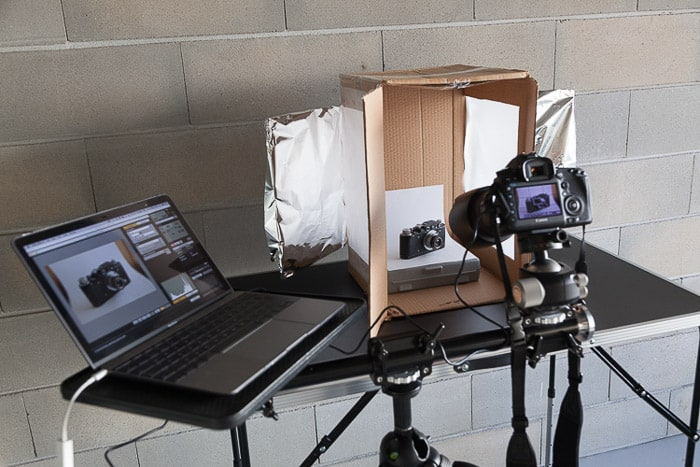 A set up for shooting a product image with a diy light box