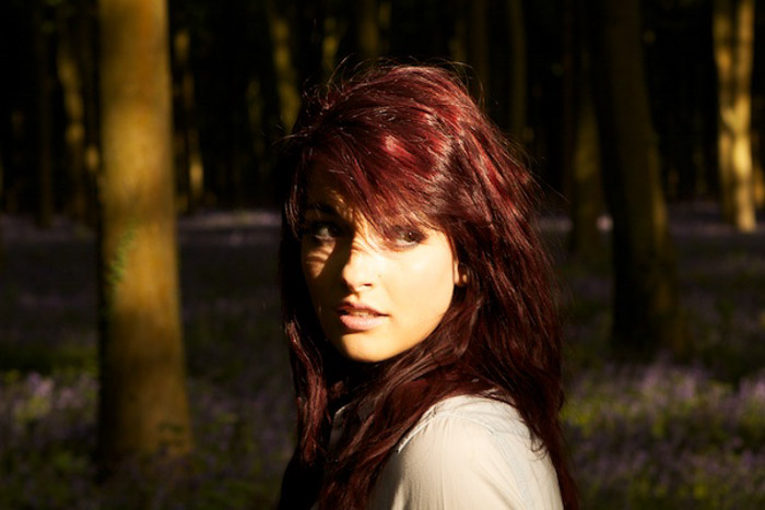 A portrait of a female model in a forest shot with Evaluative / Matrix / Pattern / Multi-zone Metering Modes