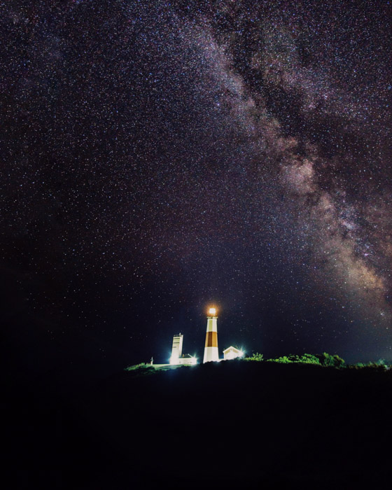 Showing a lighthouse scene using Photoshop for astrophotography editing