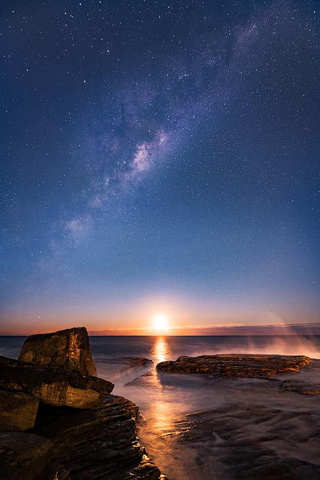 The milky way over a coastal seascape
