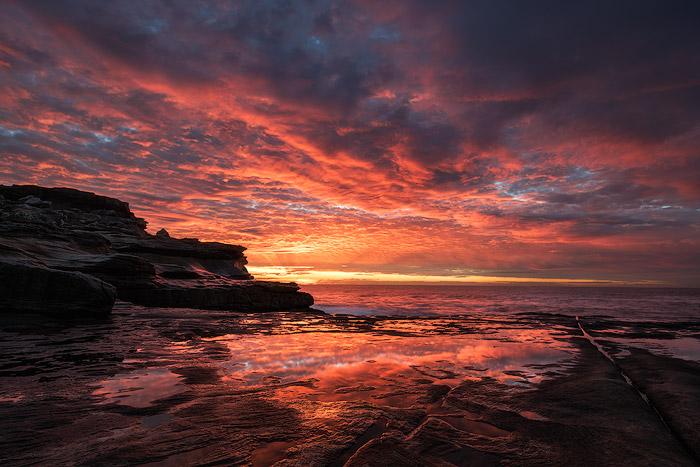 Dramatic coastal seascape photography at sunset
