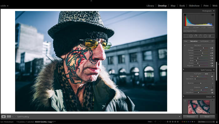 A screenshot of using Lightroom for your street photography work flow and editing process