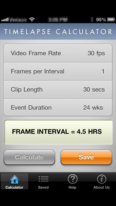 Time-lapse photography calculator for figuring out how many images to photograph