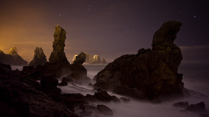 Using rock formations is a great example of time-lapse photography