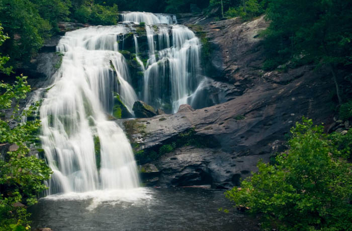 A flowing waterfall captured with motion blur