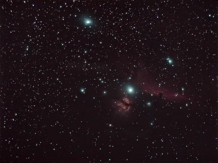 Astrophotography of Flame Nebula and Horsehead Nebula