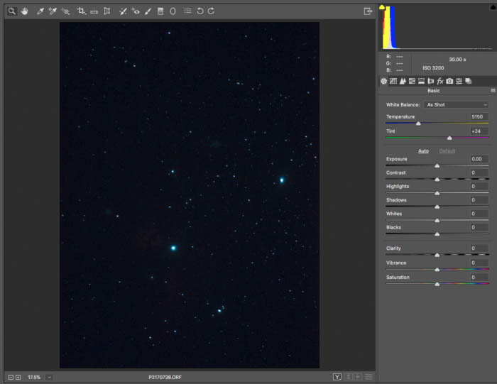 A screenshot of using the histogram for astrophotography