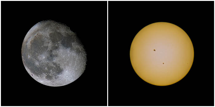 Diptych showing impressive sun and moon photography