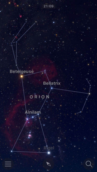 Night photography of the Belt of Orion, Bellatrix, Betelgeuse, Alnilam