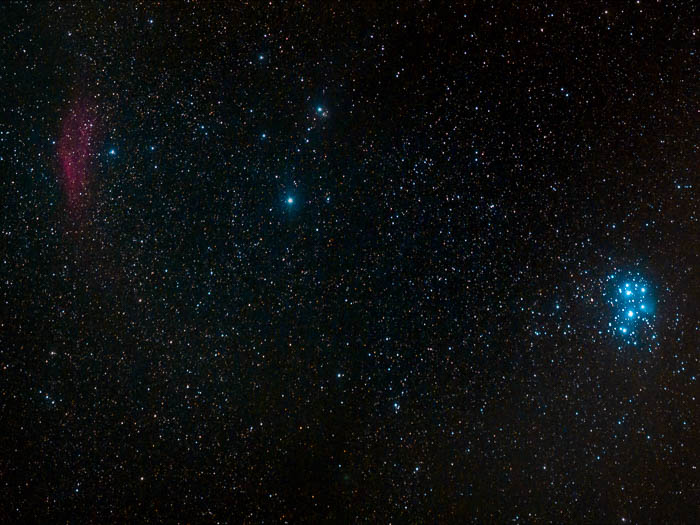 Shooting the star filled horizon, Pleiades and California Nebula