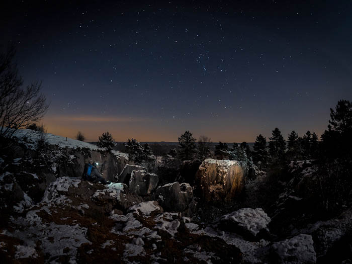 A starry forest landscape shot at night