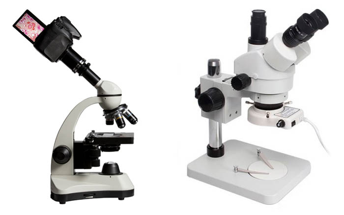 Two Close-up Photography Microscopes on white background