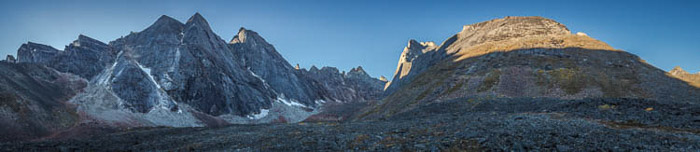 A stunning panoramic image of a mountainous landscape