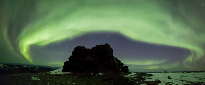panoramic photography of the aurora borealis or northern lights