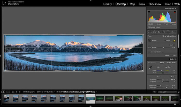 Post processing a stunning panoramic photo of an icy landscape in Haines, Alaska