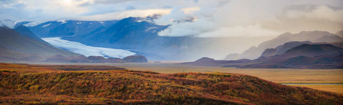 Breathtaking panoramic photo of the Denali highway in Alaska