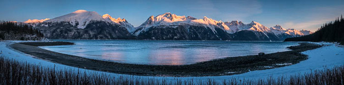 A stunning panoramic photo of an icy landscape in Haines, Alaska