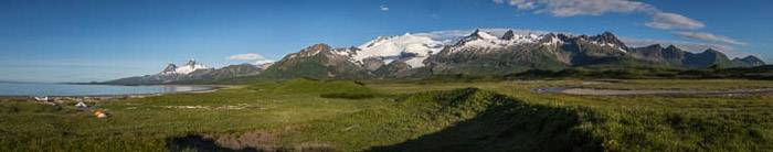 A beautiful panorama shot of the Katmai coast
