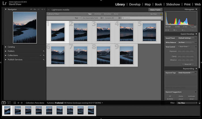 selecting images in Lightroom for editing panoramic photos, screenshot