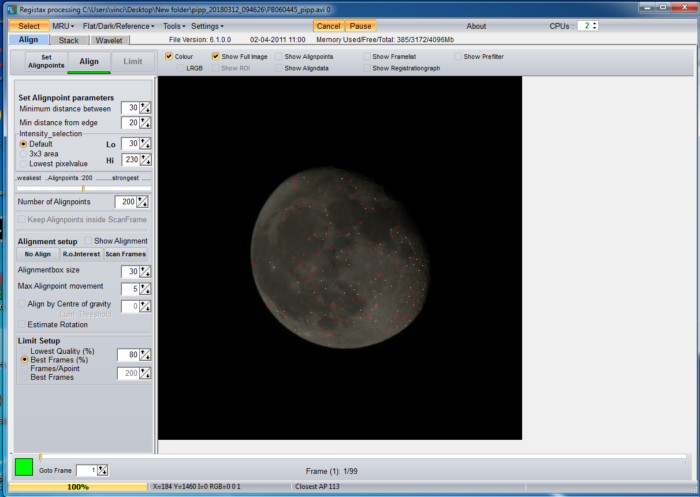 image stacking of a moon photo