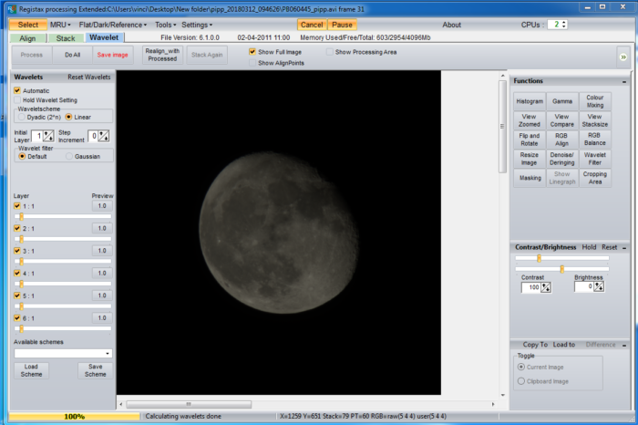 moon photo registax processing