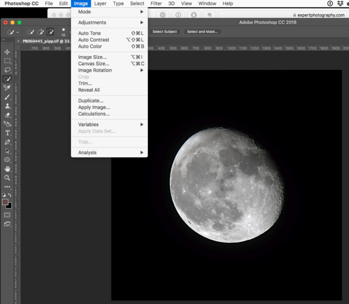 editing a photo of the moon in photoshop cc