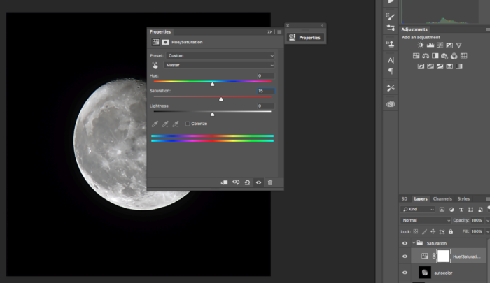 saturation adjustment in photoshop cc of a photo of the moon