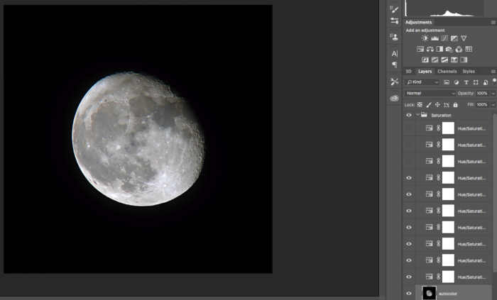 adjustment in photoshop cc of a photo of the moon