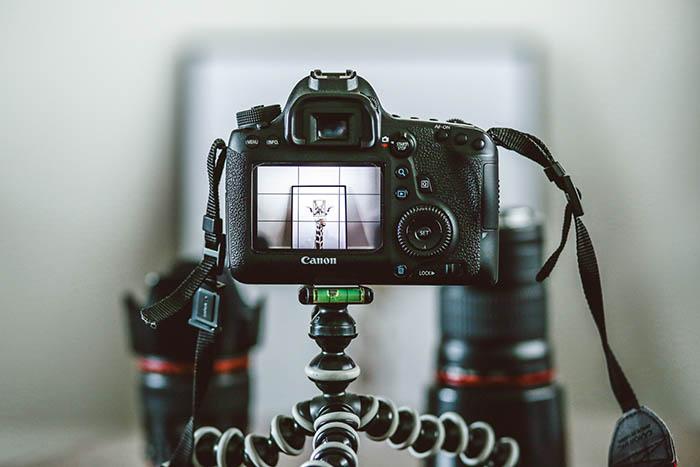 camera set up on a tripod