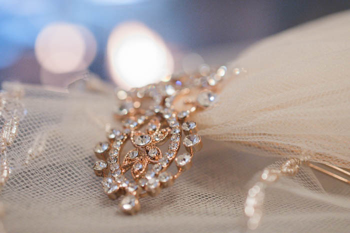 Detail of jewelry from a bridal veil