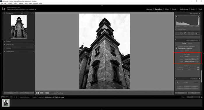 Lightroom is the go-to program for lens correction for your architecture photography
