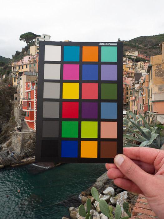 A person holding a color checker